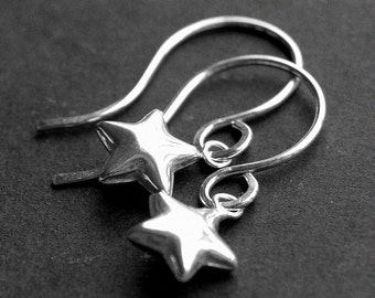 Tiny Sterling Silver Star Earrings, Puffed Star Charms, Handmade Sterling Silver Earwires