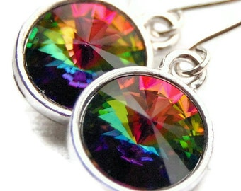 Rainbow Earrings, Multicolor Vitrail Swarovski Crystal Rivoli Drops, Colorful Crystal Dangle, Sterling Silver Earwires