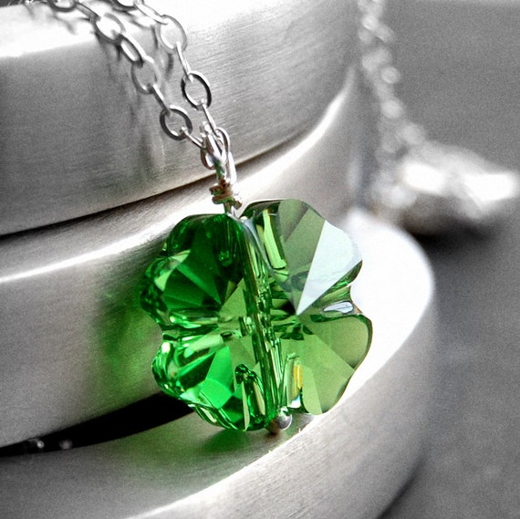 Shamrock Pendant Necklace, Green Swarovski Crystal Four Leaf Clover, Sterling Silver Cable Chain, Shamrock Jewelry