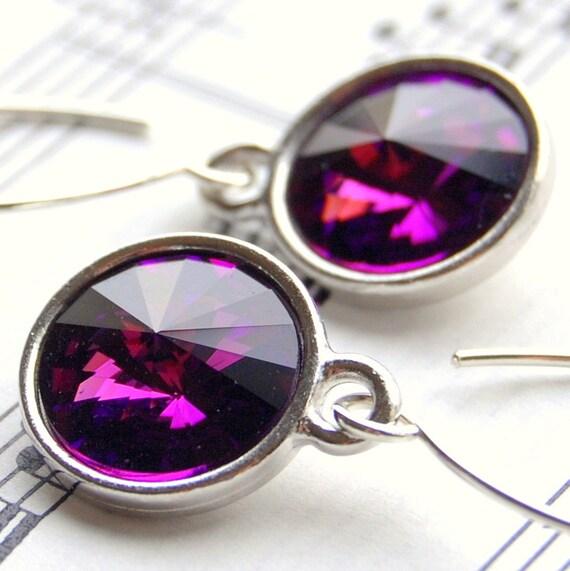 CLEARANCE / SALE - Purple Crystal Earrings, Amethyst Swarovski Crystal Rivoli Briolette Drops, Sterling Silver Earwires