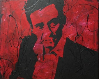 Red Johnny Cash Pop Art Painting 24x24 on Canvas