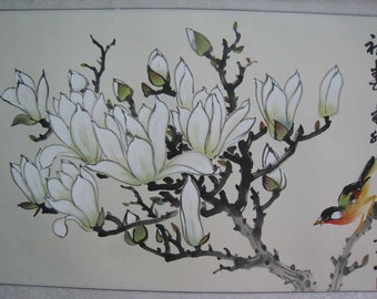 Original Chinese painting-Blossoms and Bird(Magnolias and Bird)