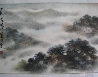 Original Chinese painting-Natural Scenery(Cloudy mountain Scenery)