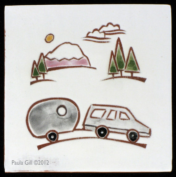 """Tile: Car with Bambi AirStream Trailer 4"""" x 4"""""""