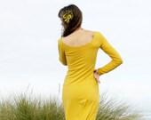 Organic Cotton Long Sleeve Maxi Dress - eco dress, custom color dress, yellow boho hippy dress