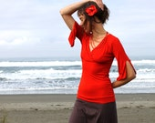 Bamboo Cross Over Shirt - elbow length sleeves, hippie boho shirt, red shirt, custom color shirt, fairy sleeves