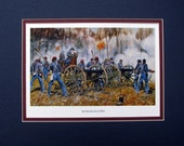 Civil War Print of General Ruggles Battery Matted Watercolor Lafayette Ragsdale