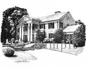 Memphis Landmark Pencil Sketch Graceland Print
