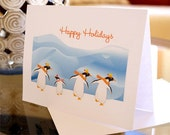 Holiday Card - Greeting Card - Happy Holidays - Merry Christmas - Happy New Year -  Dancing Penguins