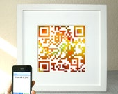 Home rainbow decor - I love all of you or personalized message - OOAK QR code square art - teacher gift