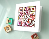 """love infinity - """"i love you"""" or Personalized Message - Valentines Day card, Anniversary Card - OOAK QR Code art"""