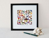 """October birthday gifts for men, dad, father - """"You're the BEST DAD ever""""- QR code square home wall art print - Father's Day gift"""