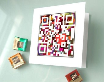 Personalized stationery - Marry me card - Will you marry me or secret personalized messag - love QR code art