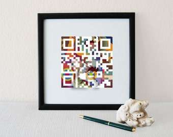 """Father's Day gift, June birthday gifts for men, dad, father - """"You're the BEST DAD ever""""- QR code square home wall art print"""