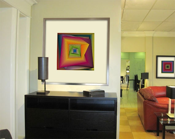 Mid century office modern home decor kaleidoscope by colorelish - Mid century modern home office ideas ...