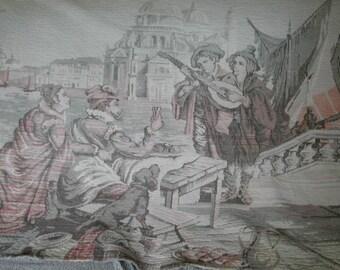 Vintage Belgian Italian Renaissance Scene Venetian Tapestry