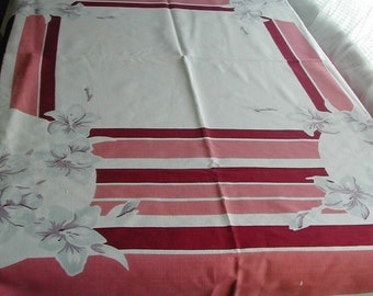 1950's Vintage Art Deco Orchid Tablecloth