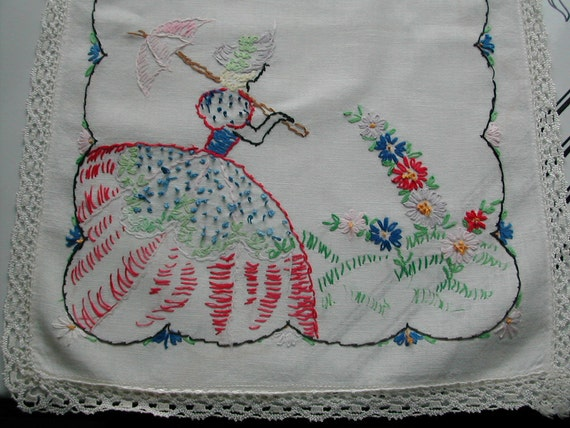 Vintage 1950s Cottage Chic Hand Embroidered Crinoline Lady Dresser Scarf Table Runner