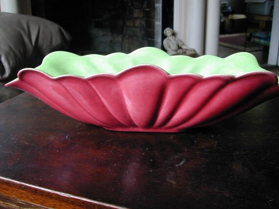 1940's California Pottery Chartreuse  and Rose Console Bowl