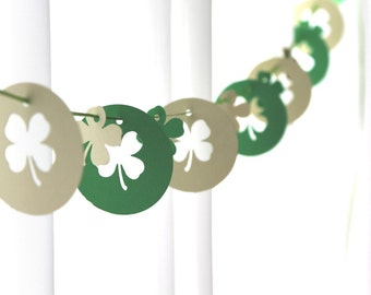 "6 Foot - 2"" St Patricks Day Shamrocks in Green and White Party Banner Garland perfect for Parties, Bridal or Baby Showers"