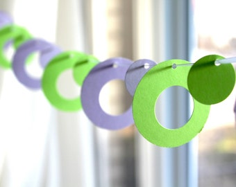"6 Foot - 2"" Spots and Dots in Spring Green and Lavender Garland - available in your choice of colors  -  Party Banner Garland"