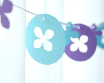 """6 Foot - 2"""" Hydrangea Bloom Garland in Purple and Teal - Party Banner Garland perfect for Bridal Showers"""