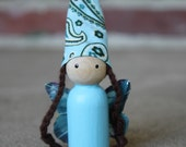 Reserved for Dawne - Blue Wooden Fairy- Lucy