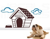 Wall decals PERSONALIZED DOG HOUSE with clouds surface graphics interior decor by Decals Murals (28x56)
