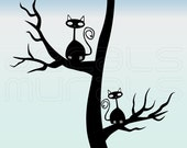 Wall decals CATS IN A TREE Vinyl surface graphics interior decor by Decals Murals