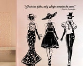 Wall decals FASHION MODELS with Coco Chanel quote Surface graphics interior decor by Graphics Mesh