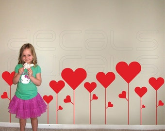 Wall decal FLOWER HEARTS Removable vinyl wall art stickers interior decor by Decals Murals (Large)