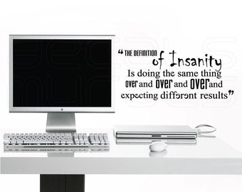 Wall decals DEFINITION OF INSANITY Vinyl lettering interior decor by Decals Murals (12x28)