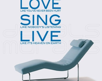 Wall decals LOVE SING LIVE quote stickers for walls by Decals Murals (28x32)