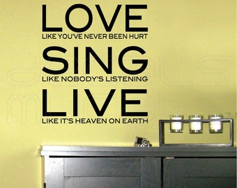 Wall decals LOVE SING LIVE Surface graphics quote - Interior decor by Decals Murals (24x28)