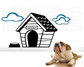 Wall decals DOG HOUSE Personalized vinyl art stickers interior decor by Decals Murals (22x44)