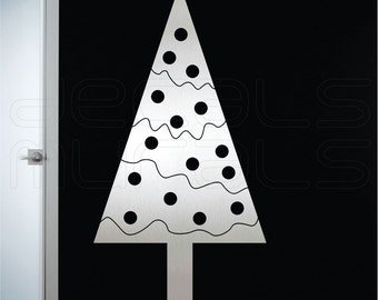 Wall decals GEOMETRIC CHRISTMAS TREE holiday surface graphics interior decor by Decals Murals (42x22)