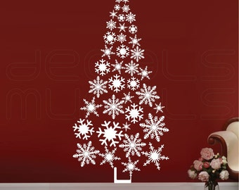 Wall decals SNOWFLAKES CHRISTMAS TREE holiday vinyl art interior decor by Decals Murals Large
