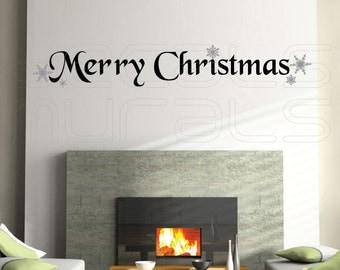 Wall decals MERRY CHRISTMAS with snowflakes holiday interior wall decor by Decals Murals (7x46)