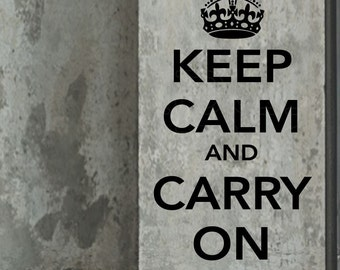 Keep calm and Carry On WALL DECALS Quotes lettering decor stickersby Decals Murals (22x38)