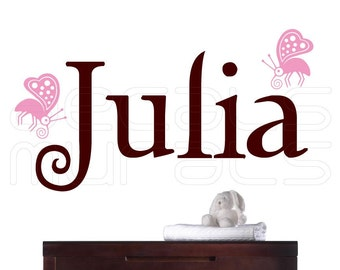 Personalized custom NAME WITH BUTTERFLIES - wall decals interior decor by Decals Murals