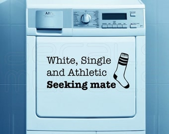 Laundry room decals White Single Athletic SEEKING MATE Humor stickers socks 7x15
