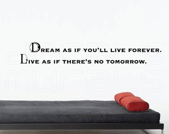 """Wall decals """"DREAM as if You'll live forever. LIVE as if there's no tomorrow"""" Vinyl lettering for walls by Decals Murals"""