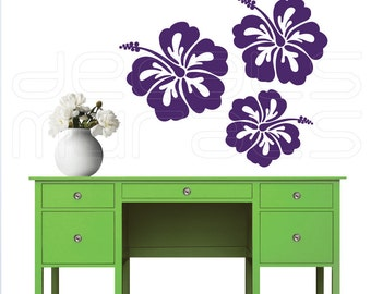 Wall decals HAWAIIAN FLOWERS Vinyl decor stickers - Floral art by Decals Murals (27x34)