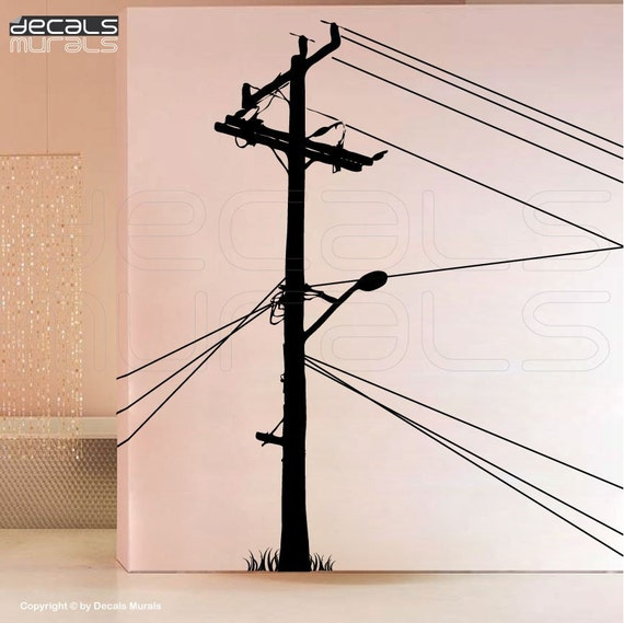 Wall decals ELECTRIC POLE Large vinyl art stickers decor for a wall by Decals Murals