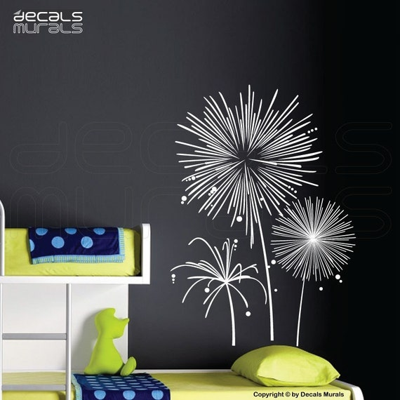 Wall decals FIREWORKS vinyl art stickers - Wall graphics for modern interior decorating by DECALS MURALS
