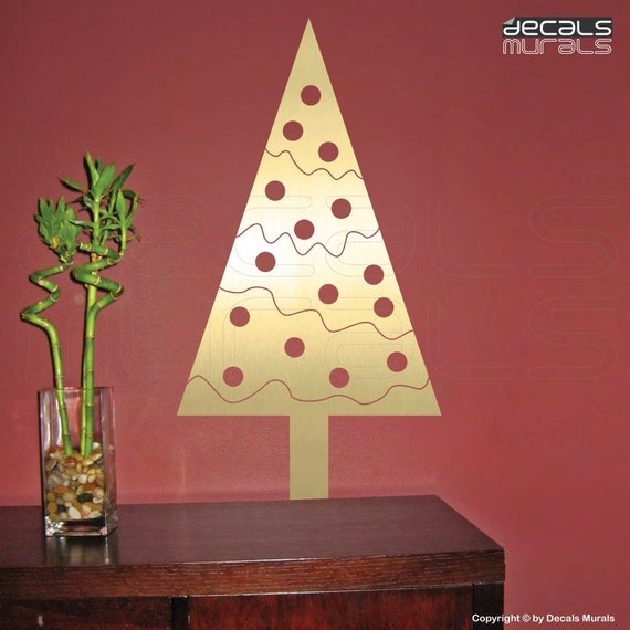 Wall Decor Christmas Tree : Wall decal geometric christmas tree holiday decor by