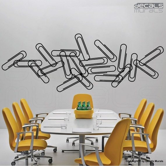 Wall decals PAPER CLIPS Vinyl surface graphics interior decor by Decals Murals