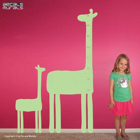 Wall decals GIRAFFES GROWTH CHART  Vinyl art stickers for kids and nursery by Decals Murals