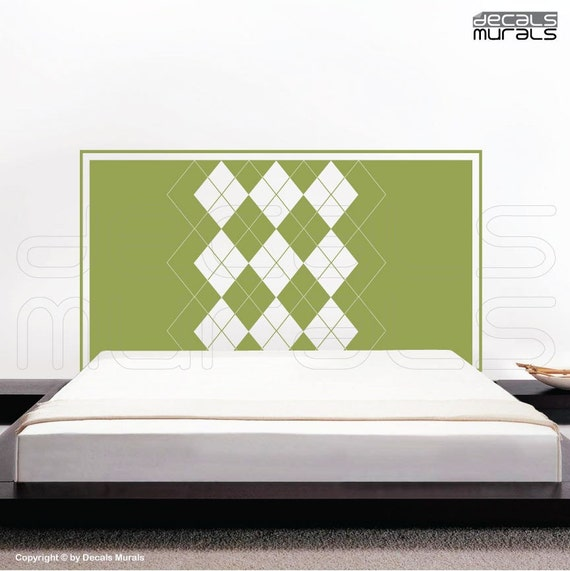 Wall decal headboard ARGYLE PRINT Vinyl surface graphics interior decor by Decals Murals (Full size bed)