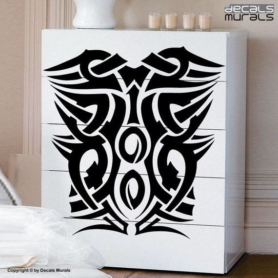 Wall design tattoo : Wall decals squared tribal design tattoo vinyl stickers